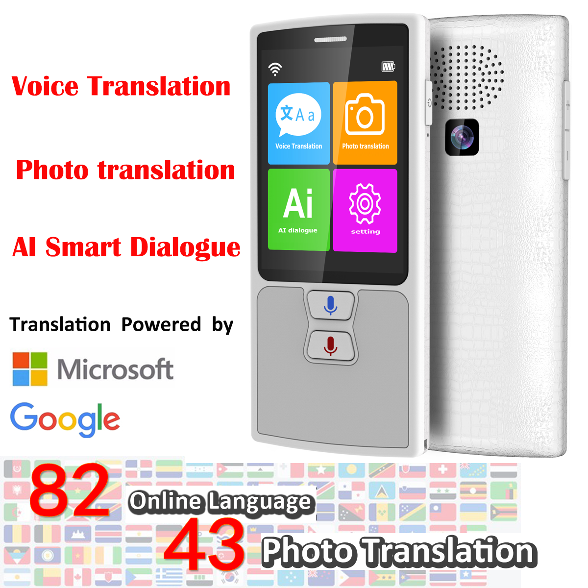 76 Languages Pocket Voice Translator for Travel translator with HD Touch Screen including WIFI and Hotspot Networking Methods 4