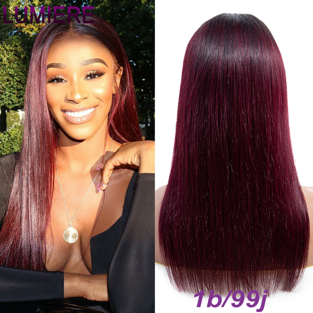 1B-/27/99J/30 Ombre Color Lace Front Remy Human Hair Wigs With Baby Hair 4*4 Straight Brazilian Blonde Lace Wig Free Part