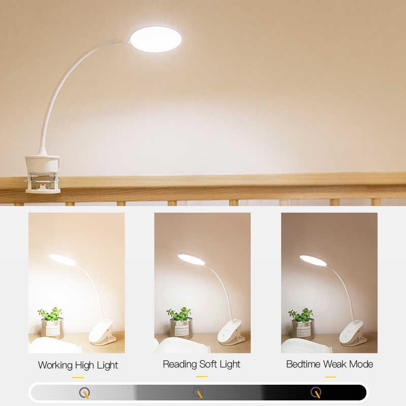 YAGE נייד LED מנורת שולחן מגע על/כיבוי עין הגנת קליפ שולחן אור 3 מצבי Dimmable USB נטענת שולחן אורות