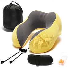 Travel-Pillow Head-Support Memory-Foam Comfortable Neck with 360-Degree Storage-Bag Lightweight
