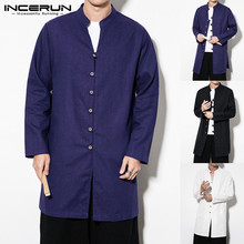 INCERUN Men Casual Shirt Stand Collar Kung Fu Long Sleeve Solid Color Vintage Chinese Style Male Chemise 2019 S-5XL