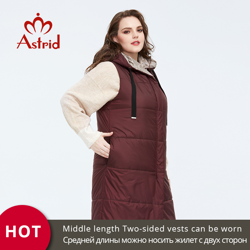 Astrid 2020 New Spring Autumn Women's Coat Sleeveless Double-sided  Clothing Warm Women Thin  Parka Cotton Vest  Female  AM-7504