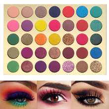 35 parlak renkli mat göz farı paleti pırıltılı İpeksi pudra uzun ömürlü pigmentler preslenmiş Glitter göz farı paleti makyaj