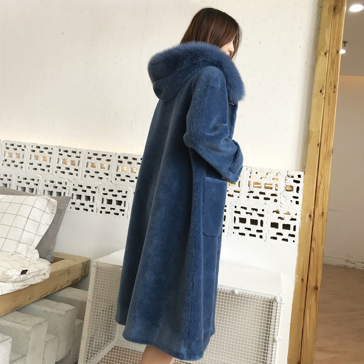 Real Fur Coat Women Sheep Shearing Overcoat Genuine Fox Fur Collar Female Long Hooded Wool Winter Jacket Abrigo Mujer LX2599