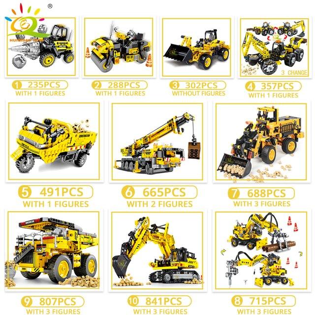 HUIQIBAO Ingegneria Bulldozer Gru Technic Discarica Camion Blocchi di Costruzione della Città di veicolo di Costruzione auto Giocattolo Per I Bambini scherza il regalo 3