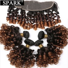 Spark Ombre Brazilian Hair Human Hair Bundles With Frontal Remy Bouncy Curly Hair Lace Frontal Closure With Bundles Extensions