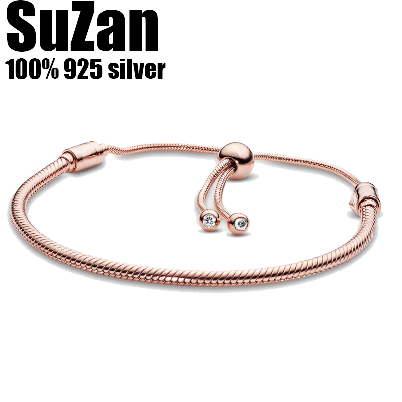 Suzan Authentic original logo 100% 925 <font><b>sterling</b></font> <font><b>silver</b></font> <font><b>pan</b></font> charm chain <font><b>bracelet</b></font> for women fashion luxury snake <font><b>bracelet</b></font> jewelry image