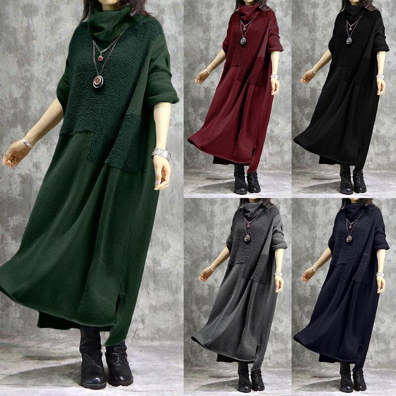 ZANZEA Vintage Turtleneck Sweatshirts Dress Casual Hoodies Pullovers Women's Spring Sundress Female Pacthwork Robe Plus Size