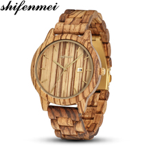 Shifenmei Wooden Men Watches Casual Stylish Wooden Timepieces Quartz Watches Sports Outdoor Military Wood Watch Gift for Man все цены