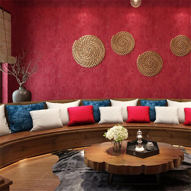 Best Price 8a98a Upscale Retro Pure Color Red Wallpaper Burgundy Big Red Living Room Bedroom Ktv Background Wall Paper Clothing Store Wallpaper Cicig Co