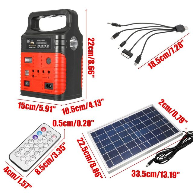 3 LED Solar Lighting System Kit 7500mAH USB Charging Household Generator Kit Outdoor Power Supply MP3 Radio Flashlight Emergency 3