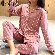 Ensemble pyjama à manches longues pour femme, vêtements d'intérieur, rose, bleu, doux, Lingerie, costume de nuit