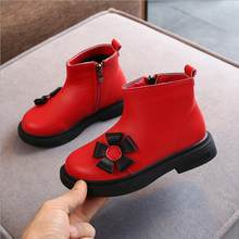 New Winter Child Shoes PU Leather Waterproof Martin Boots Kids Flower Snow Boots Brand Girls Rubber Boots Fashion Sneakers(China)