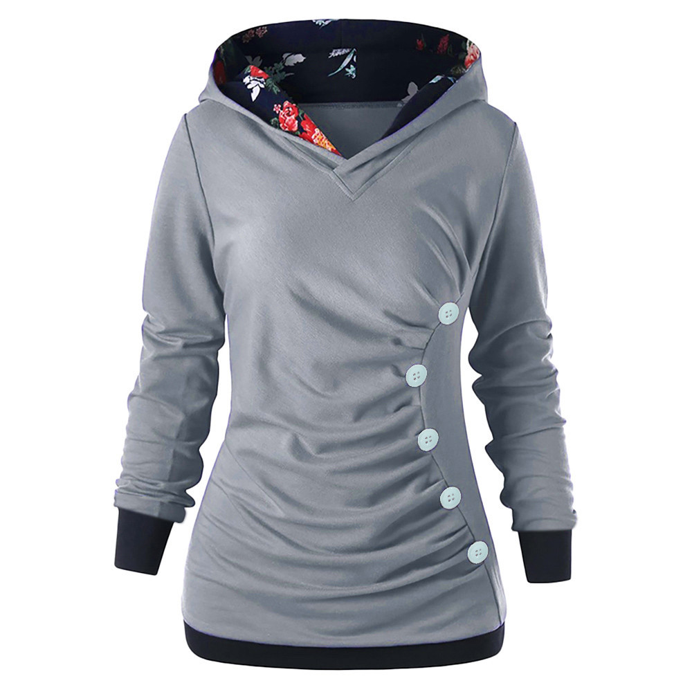 Hoodies Women Sweatshirt Button Floral Patchwork Long Sleeve Hooded Autumn Spring pullovers Sweatshirt sudadera mujer moletom