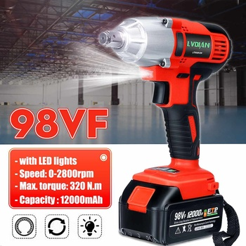 98VF 320N.M Cordless Brushless Electric Wrench Impact Socket Wrench 12000mAh Li Battery Hand Drill Installation Power Tools