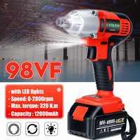 98VF 320N.M llave eléctrica sin escobillas inalámbrica Llave de impacto 12000mAh Li batería taladro de mano instalación herramientas eléctricas