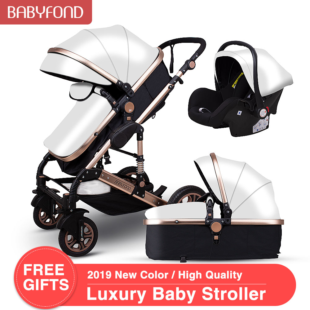 Golden Baby Stroller High Landscape Baby Cart Leatherl 3 In 1 Stroller With Car Seat 2 In 1 Baby Stroller CE Safety Babyfond