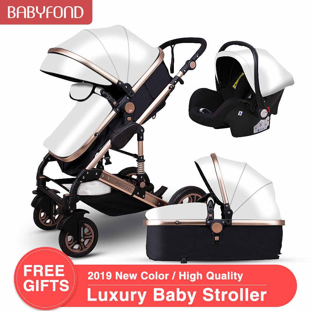 Golden Kereta Dorong Bayi Tinggi Pemandangan Kereta Bayi Kulit 3 In 1 Kereta Bayi dengan Kursi Mobil 2 In 1 Kereta Dorong Bayi CE Keselamatan Babyfond