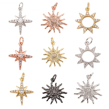 Star Sun Pendant Charms for Earrings Necklace Making Supplies Accessories Gold Polaris Diy Jewelry Charms Metal Copper CZ Zircon