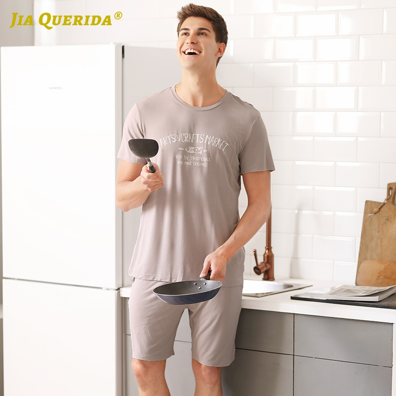 New Crew Neck Modal Pajamas Set Homesuit Homeclothes Fashion Style Casual Style Short Sleeve Short Pants Sleepwear Man Clothes