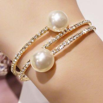 Trendy Rhinestone Silver Plated   pearl bracelet 3