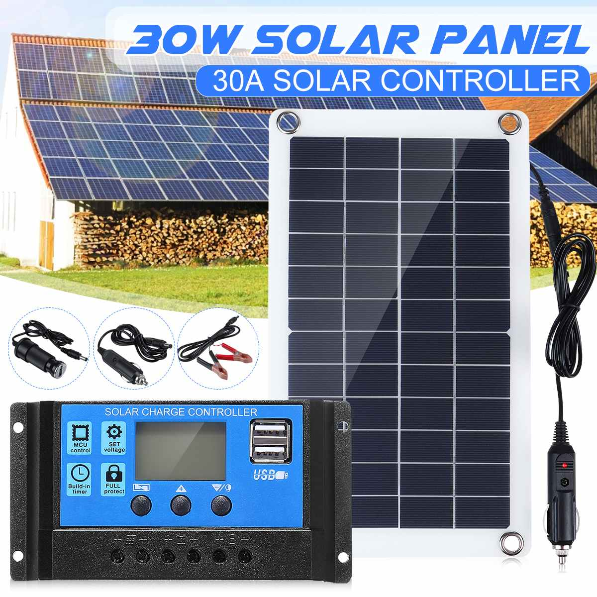Гибкая солнечная панель 30 Вт с 10 - 60 А 12 В 24 в контроллер зарядное устройство для автофургона лодки ЖК-дисплей PWM контроллер водонепроницаемы...