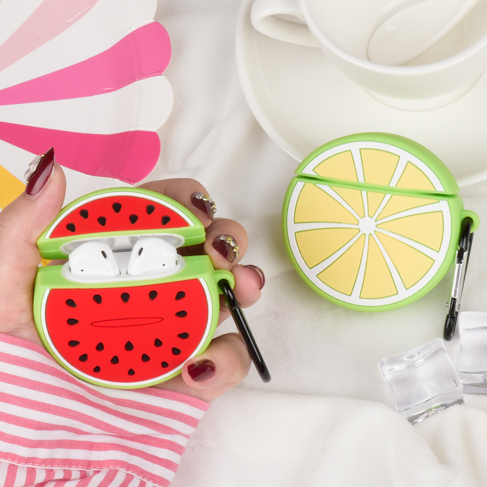 For Apple AirPods Funda 3D Watermelon Lemon Cute Fruit Cartoon Earphone Case For Airpods 1 2 Wireless Bluetooth Anti-fall Cover