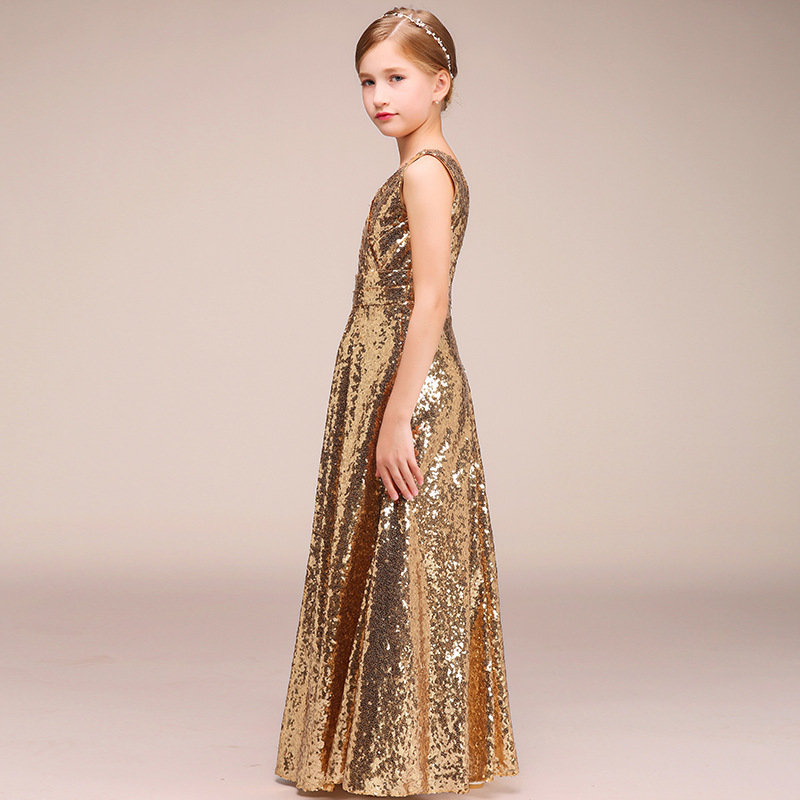 2019 New Style CHILDREN'S Costume Girls Princess Skirt Evening Gown Stage Catwalks Host Service Gold Sequin Long Skirts