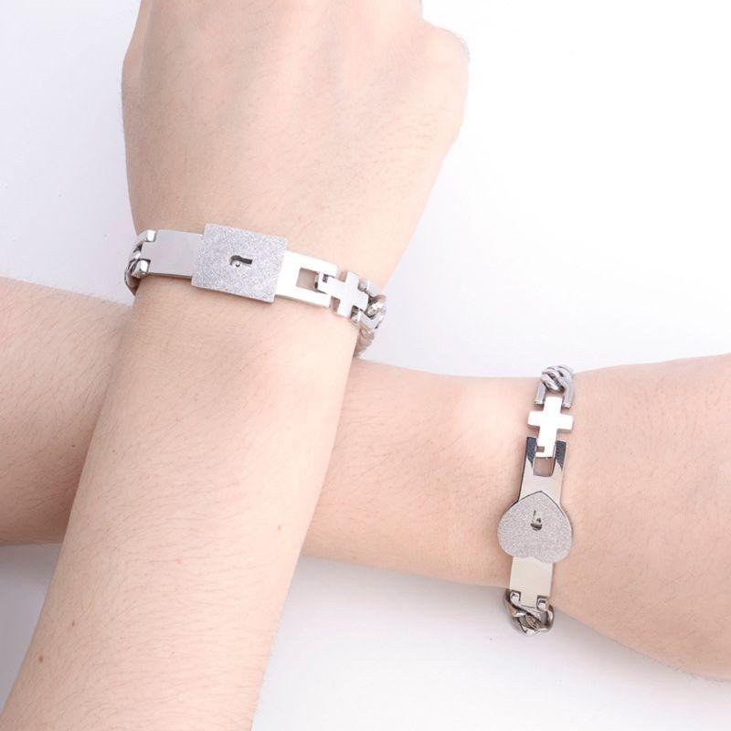 2pc  Stainless Steel Heart Link Bracelets-9219u