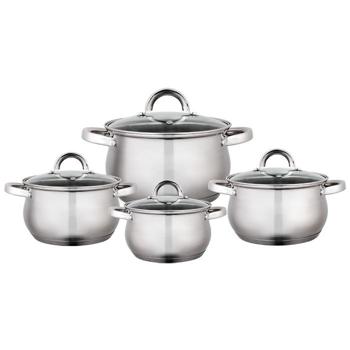 A Set Of pans stainless steel Webber BE-620/8, 8 items outdoor portable stainless steel wine pot silver 8 ounce