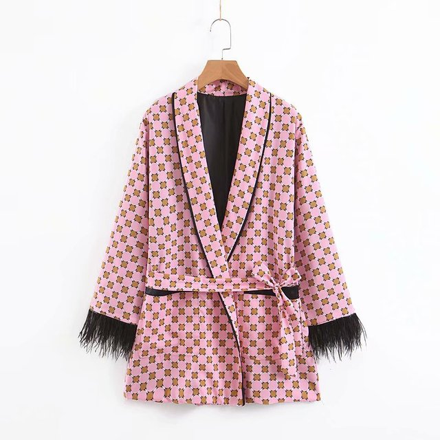 Women's suits 2021 New Arrival Blue Printed Kimono Jacket with Feather Sleeves Wide Leg pants two-piece Vintage Clothing Suits 5