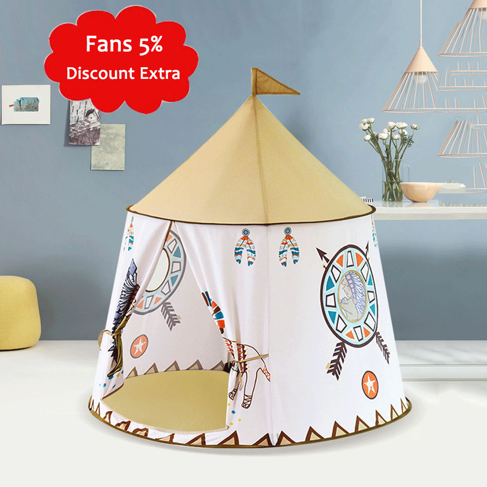1.23m Kids Tent Tipi Indian Cartoon Round Bottom Baby Play Tent Portable Princess Castle Play House Hang Flag Children's Tents