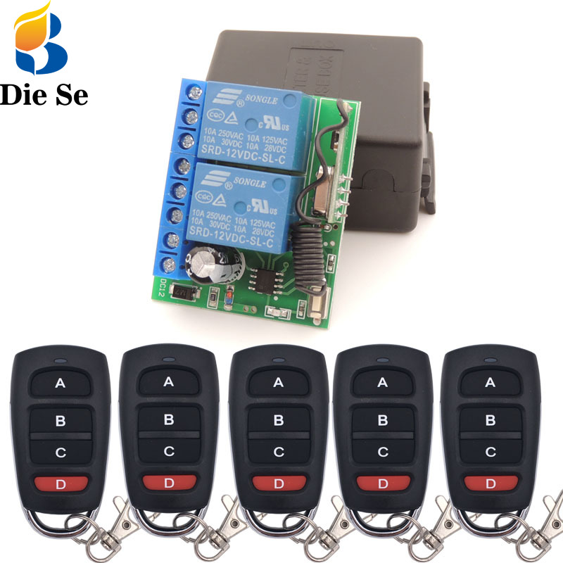 DC 12V 10A 2CH Remote Control Switch Wireless Receiver Relay Module for rf 433MHz Remote Garage Lighting Electric Door switch|Remote Controls| |  - title=