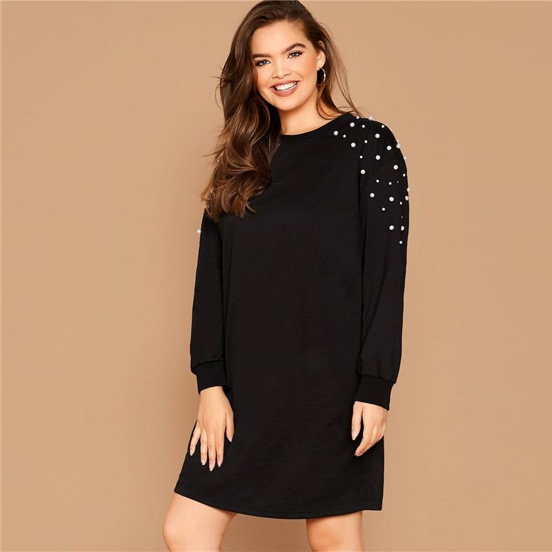 Plus Size Black Pearl Beaded Sweatshirt Casual Dress