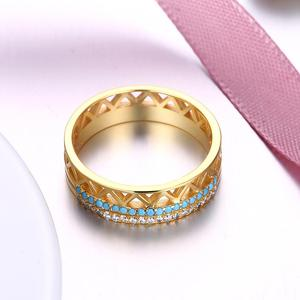 Image 4 - DOM Women Rings 925 Sterling Silver Turquoise Zircon Fashion Gold Finger Rings for Women Wedding Engagement Jewelry Gift SVR224