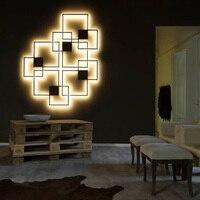 Hartisan módulo diy lâmpada de parede sala estar quarto hotel shopping decoração arandelas parede wandlamp redondo/quadrado volta emitindo lâmpadas