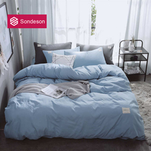 Sondeson Fashion Simple Style Home Blue Bedding Set Soft Printed Duvet Cover Set Flat Sheet Double Queen King Bed Linen Set 4PCS