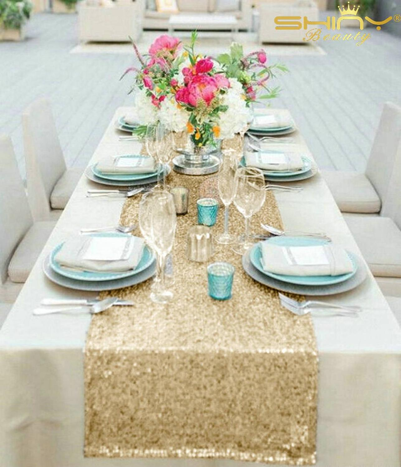 Glitter Table Runner 12x156 Inch Light Gold Sequin Table Runners Long Table Decoration For Banquet New Year Table Runner-M1012