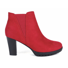 MaxMuxun Autumn new Chelsea Ankle Boots Western style Sexy women red waterproof  thick heels boots