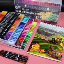 120 Colors Dual Tip Brush Marker Pens Art Watercolor Fineliner Drawing Painting Stationery Effect Best for Coloring Manga Comic