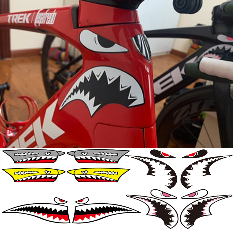 Sticker Tube Decoration Cycling-Accessories Bicycle-Frame Bike Fixed-Gear Shark-Head title=