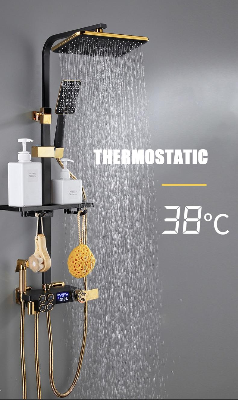 H016fcb284f8247cf911b081ca4418da0h Hot Cold Shower System Bathroom LED Digital Shower Set Wall Mount Smart Thermostatic Bath Faucet Square Head SPA Rainfall Grifo