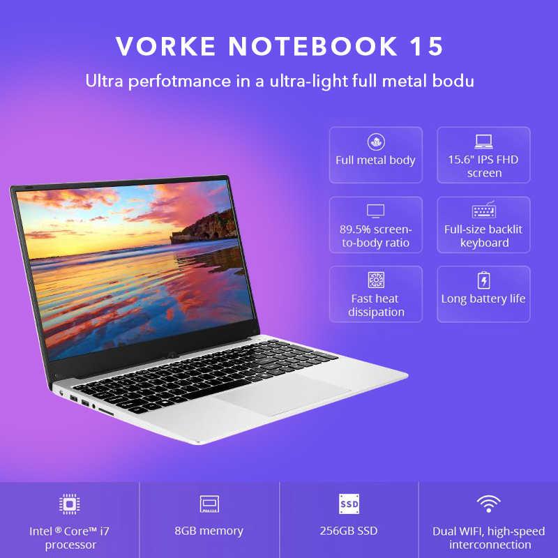 VORKE Notebook 15 Ultradünne SSD Laptop Intel Core i7-4500U i5-8250U 15.6 ''Bildschirm 1920*1080 Windows 10 8GB DDR3 256GB SSD