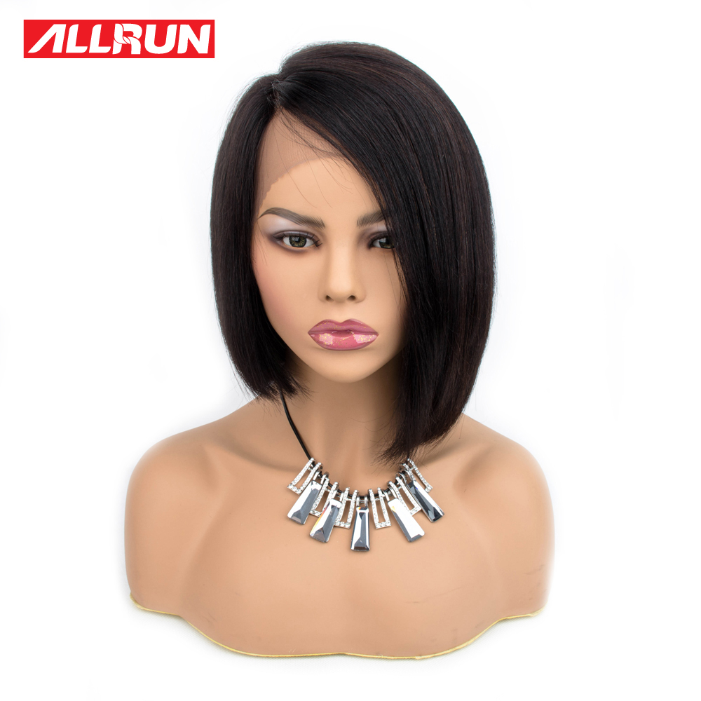 Allrun Short Bob Wig Brazilian Human Hair Lace Wig Side Part Non Remy Lace Wig For Black Women 12 Inch Straight Cheap Wig