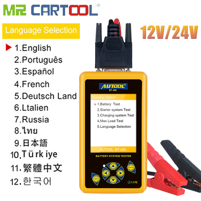 Mr Cartool BT460 Car Battery Tester 12V 24V Cell Analyzer Vehicle Diagnostic Tool Vehicle Lead-acid AGM TFT CCA Colorful Display