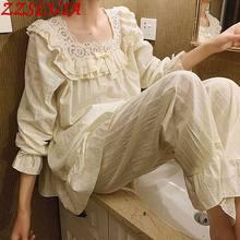 Embroidery Cotton Ladies pyjamas suits Ruffles hollow out designer Square collar pajamas sets Princess Sweet Homewear