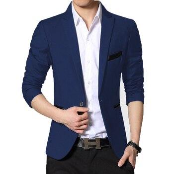 BROWON Spring Autumn Blazer Men Suit Cardigan One Button Casual Plus Size Easy Care Dress Jacket - discount item  49% OFF Suits & Blazer