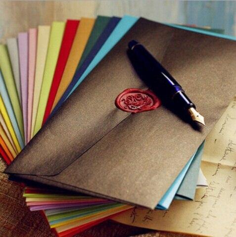 10pcs/lot 220*110mm Colorful Brilliant Envelope Random Design For Office School Stationery Wedding Invitation Envelopes