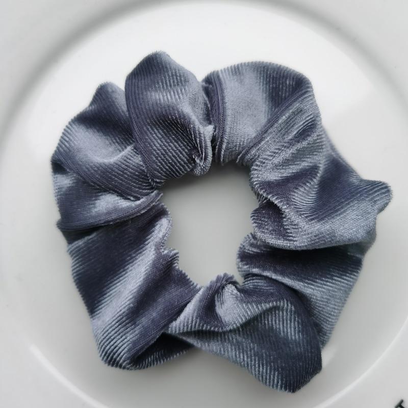 Женские бархатные резинки для волос, одноцветные резинки для волос, заколки для волос, эластичные резинки для волос, аксессуары для волос, головные уборы - Цвет: gray