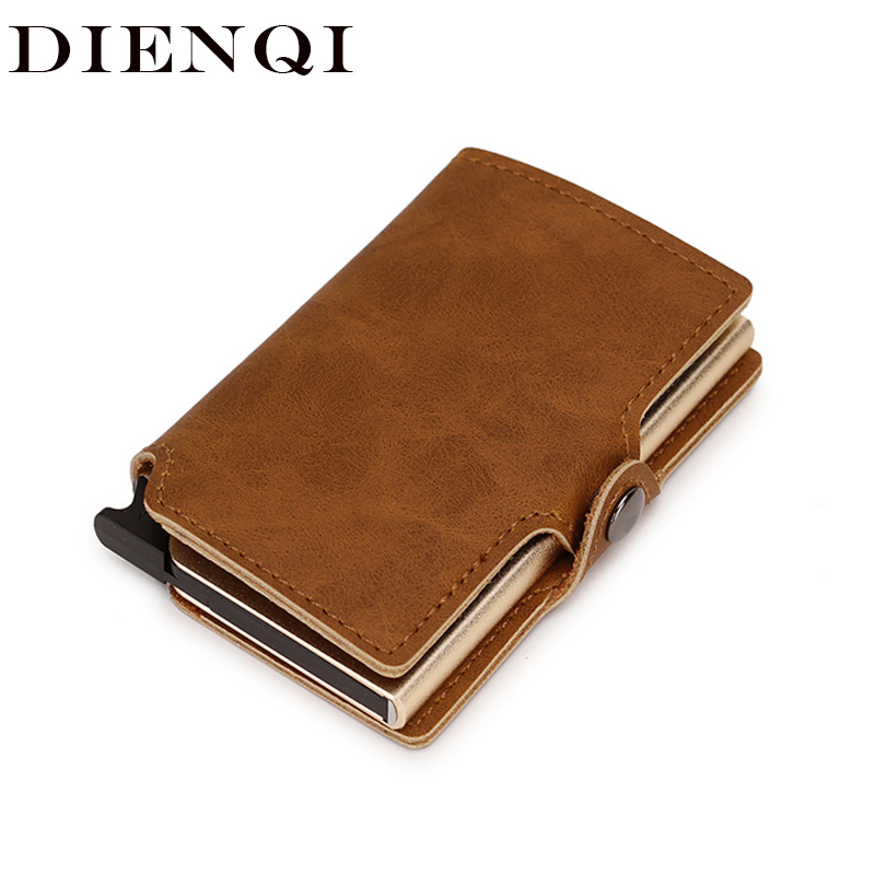 DIENQI Rfid Leather Card Holder Men Wallets Billfold Slim Thin Mini Wallet Short Purse Money Bag Teenager Brown Pull Out Wallet